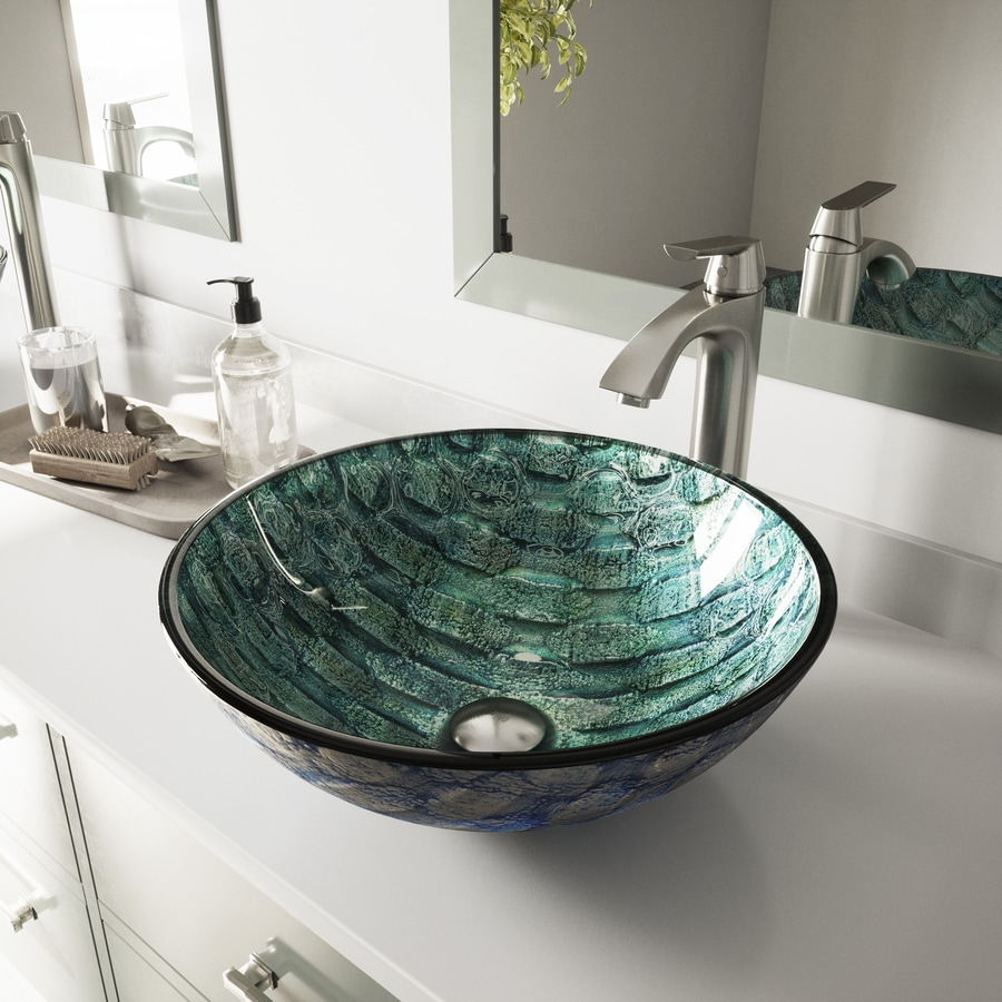 VIGO Oceania Glass Vessel Round Bathroom Sink