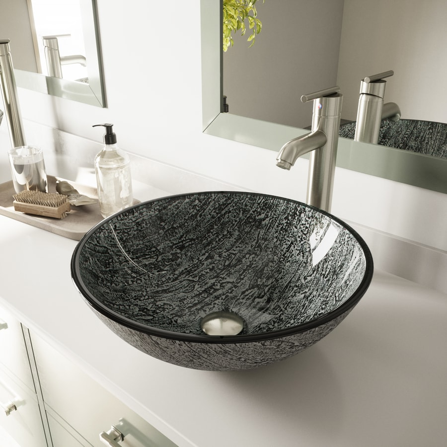 VIGO Titanium Glass Vessel Round Bathroom Sink