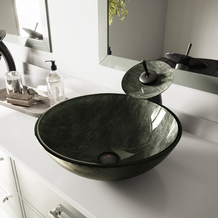 Shop VIGO Gray Onyx Glass Vessel Round Bathroom Sink At