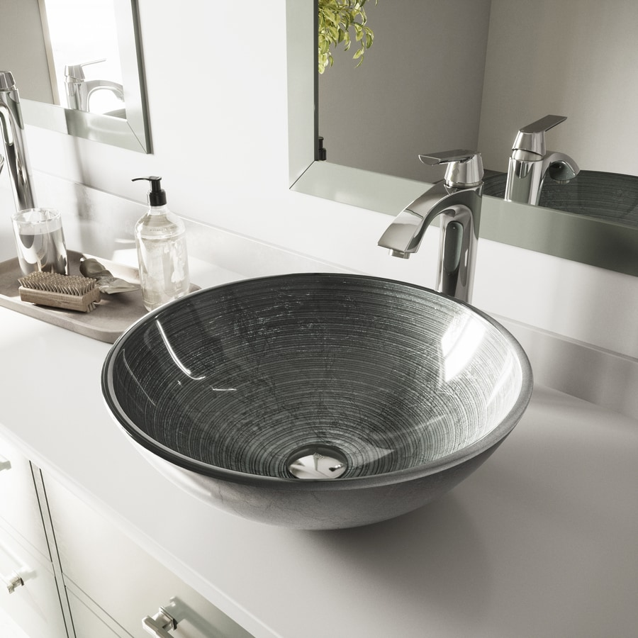 VIGO Simply Silver Glass Vessel Round Bathroom Sink