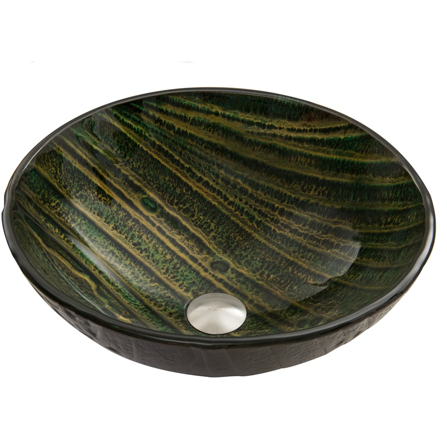 Shop Vigo Green Asteroid Glass Vessel Round Bathroom Sink At