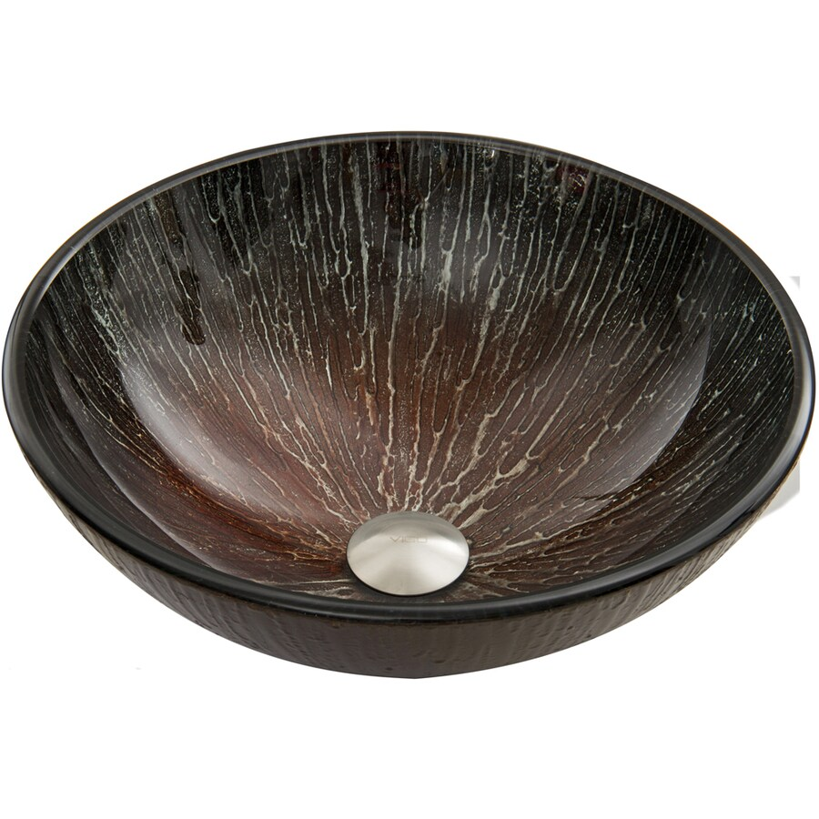 VIGO Enchanted Earth Glass Vessel Round Bathroom Sink