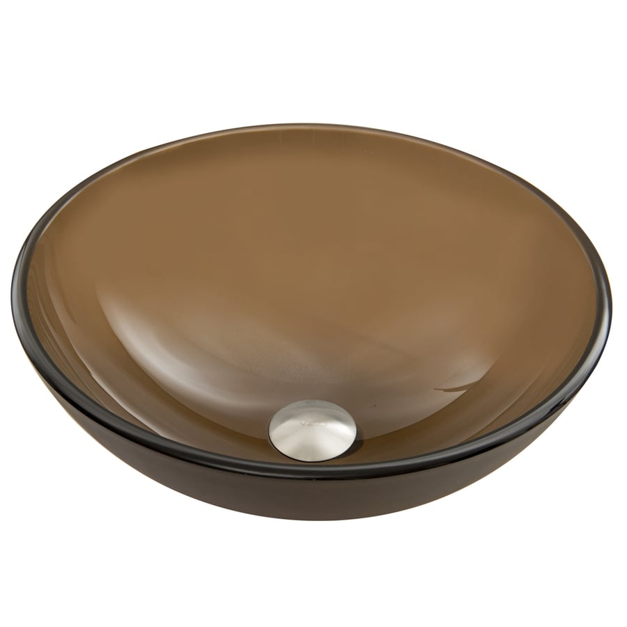 VIGO Sheer Sepia Glass Vessel Round Bathroom Sink