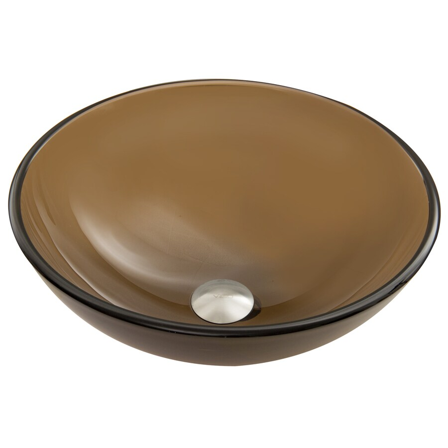 VIGO Sheer Sepia Frost Glass Vessel Round Bathroom Sink