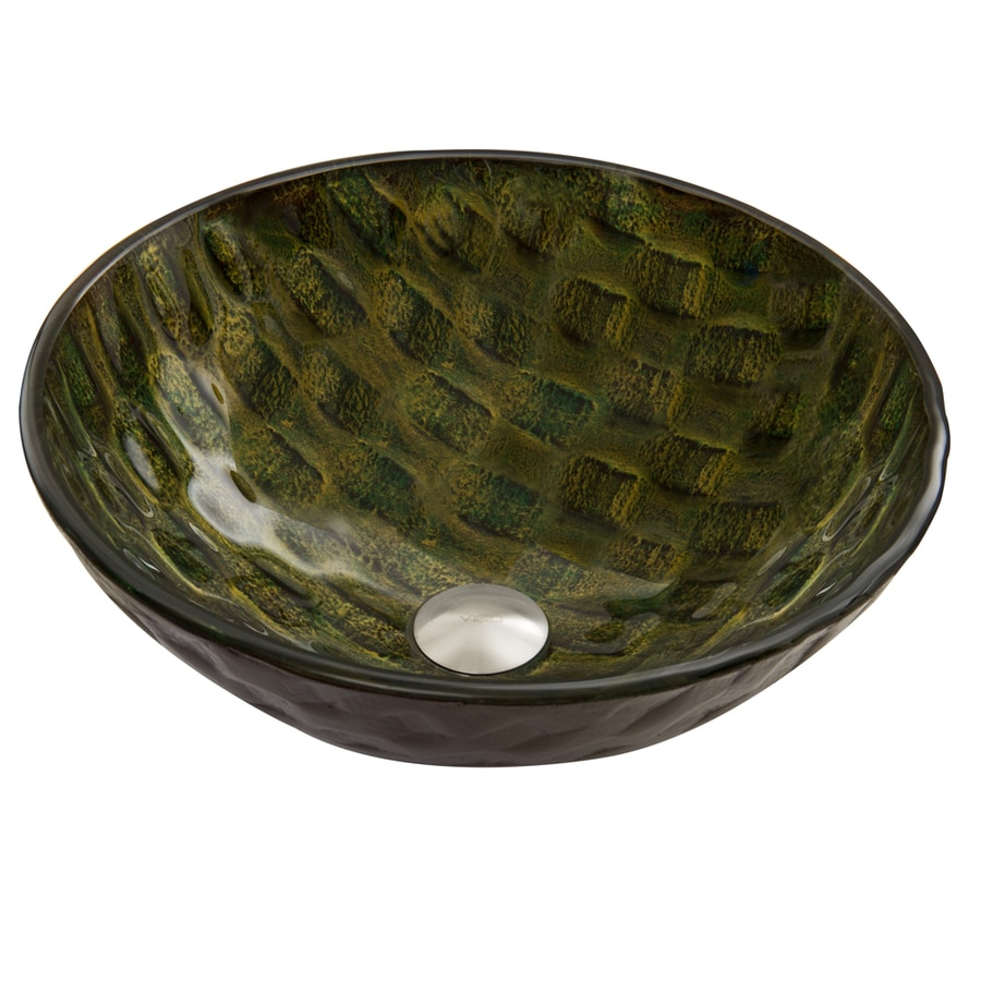 VIGO Amazonia Glass Vessel Round Bathroom Sink