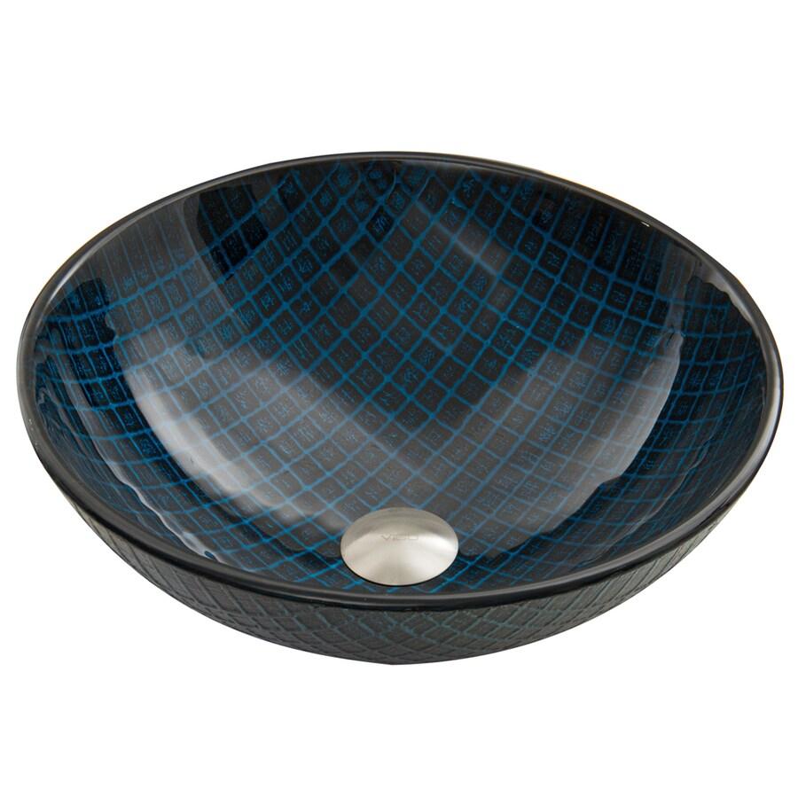 VIGO Blue Matrix Glass Vessel Round Bathroom Sink