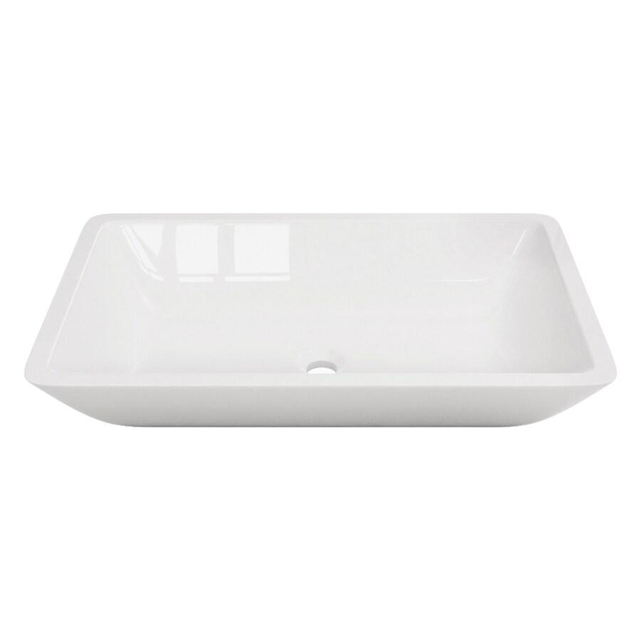 VIGO White Stone Vessel Rectangular Bathroom Sink