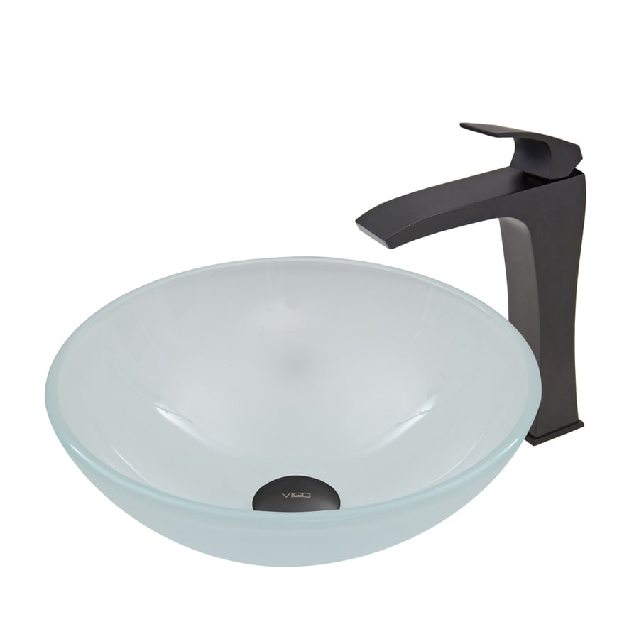 VIGO White Frost Tempered Glass Vessel Round Bathroom Sink with Faucet (Drain Included)