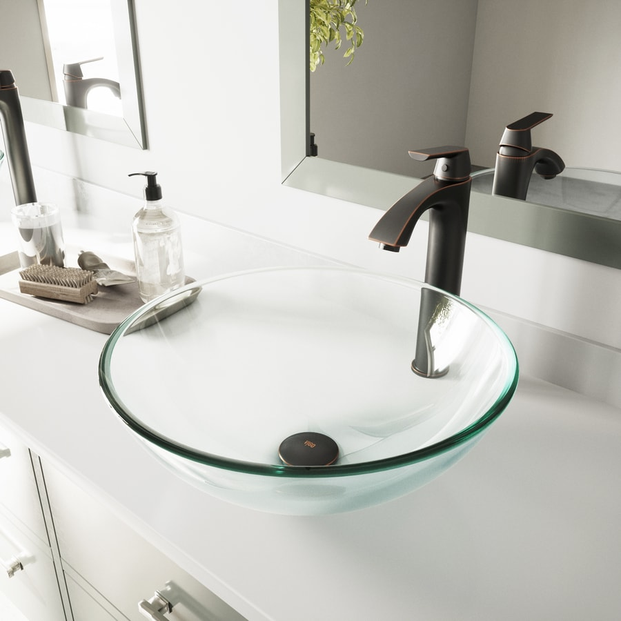 VIGO Crystalline Glass Vessel Round Bathroom Sink