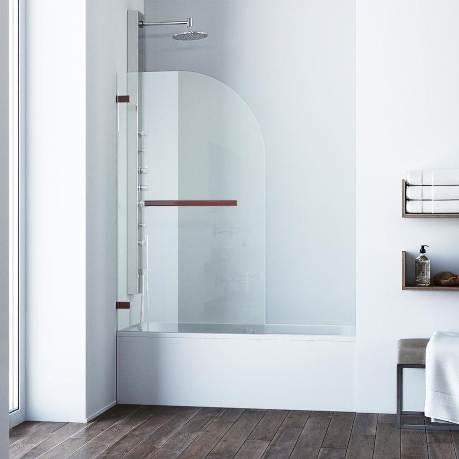 VIGO Orion Bathtub Door 34-in W x 58-in H Oil-Rubbed Bronze Frameless Bathtub Door