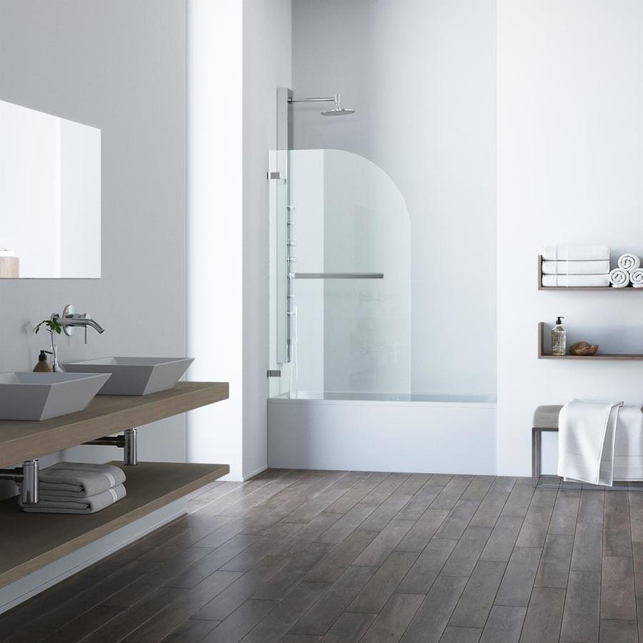 VIGO Orion 34-in W x 58-in H Polished Chrome Frameless Bathtub Door