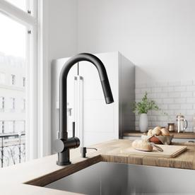 Vigo Gramercy Matte Black 1 Handle Deck Mount Pull Down Kitchen Faucet
