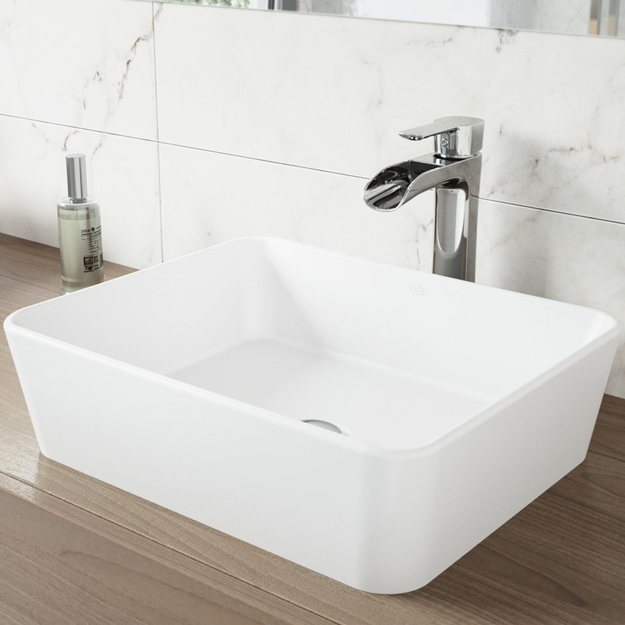 VIGO Vessel Bathroom Sets White Stone Vessel Rectangular Bathroom Sink