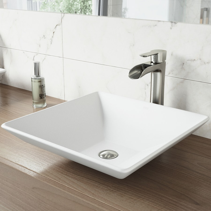 Vigo Vessel Bathroom Sets White Stone Square Sink