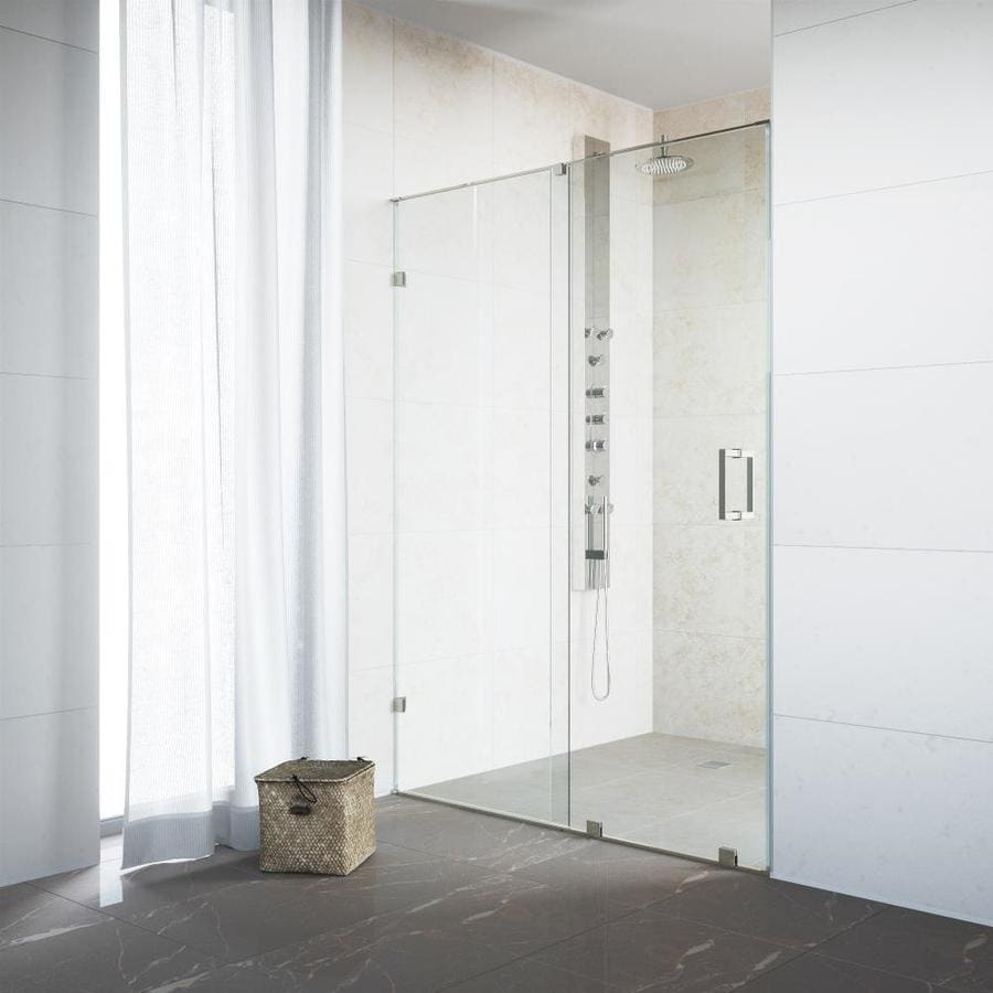 VIGO Ryland 46-in to 48-in Frameless Stainless Steel Sliding Shower Door
