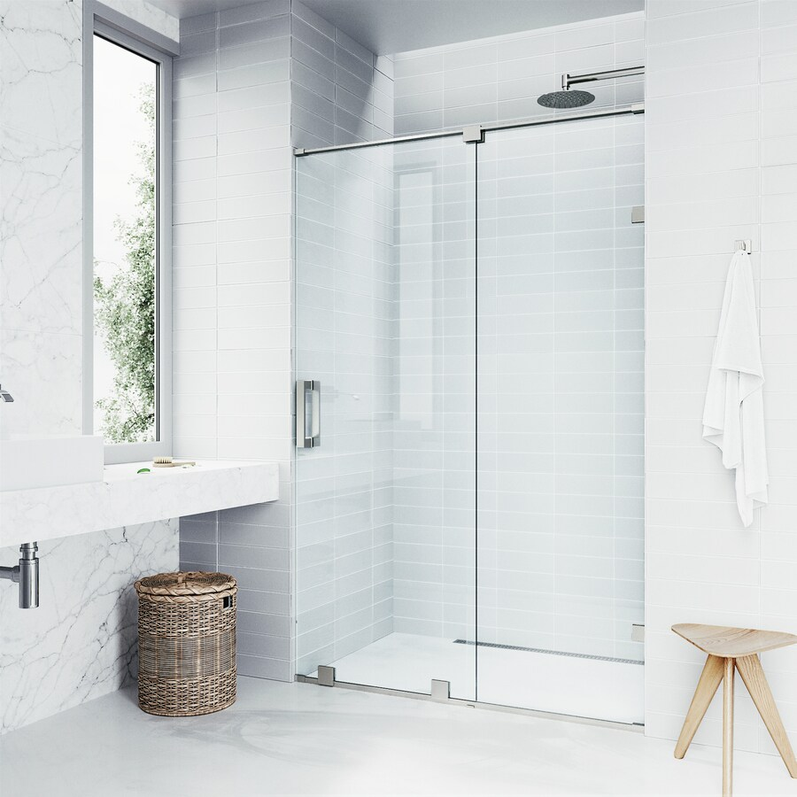 VIGO Ryland 60-in to 62-in Frameless Stainless Steel Sliding Shower Door