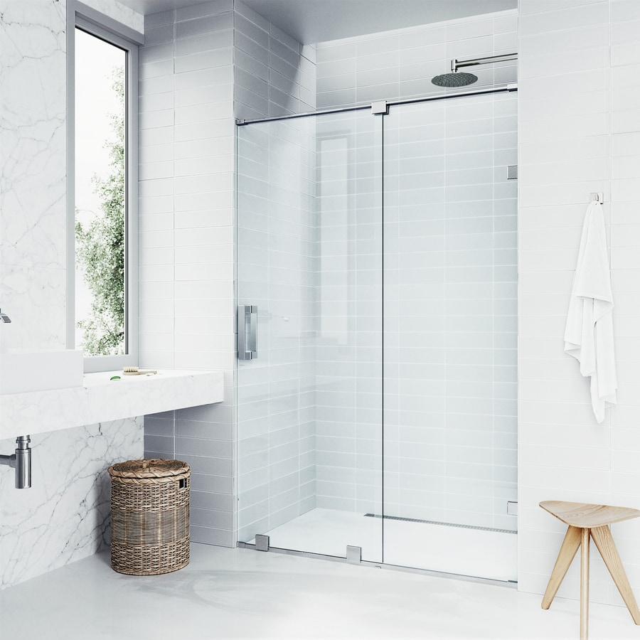 VIGO Ryland 60-in to 62-in Frameless Chrome Sliding Shower Door