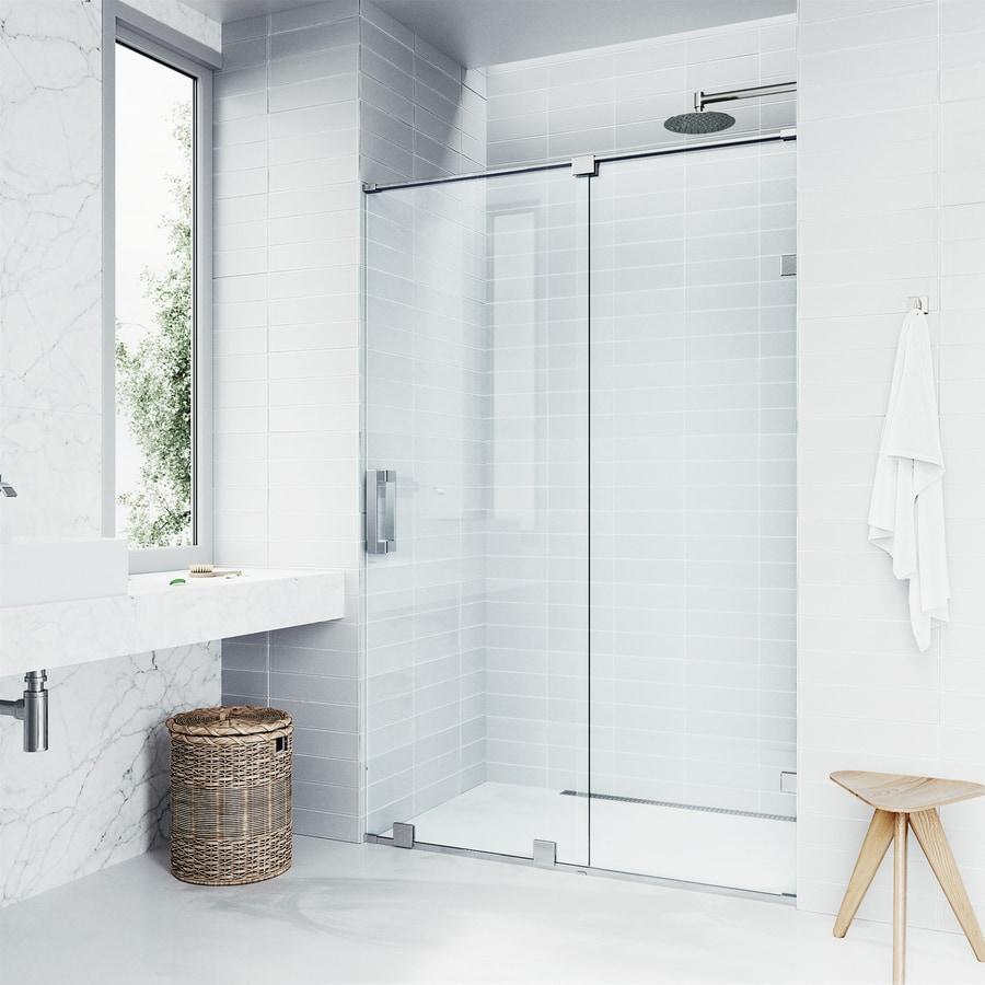 VIGO Ryland 62-in to 64-in W Frameless Chrome Sliding Shower Door
