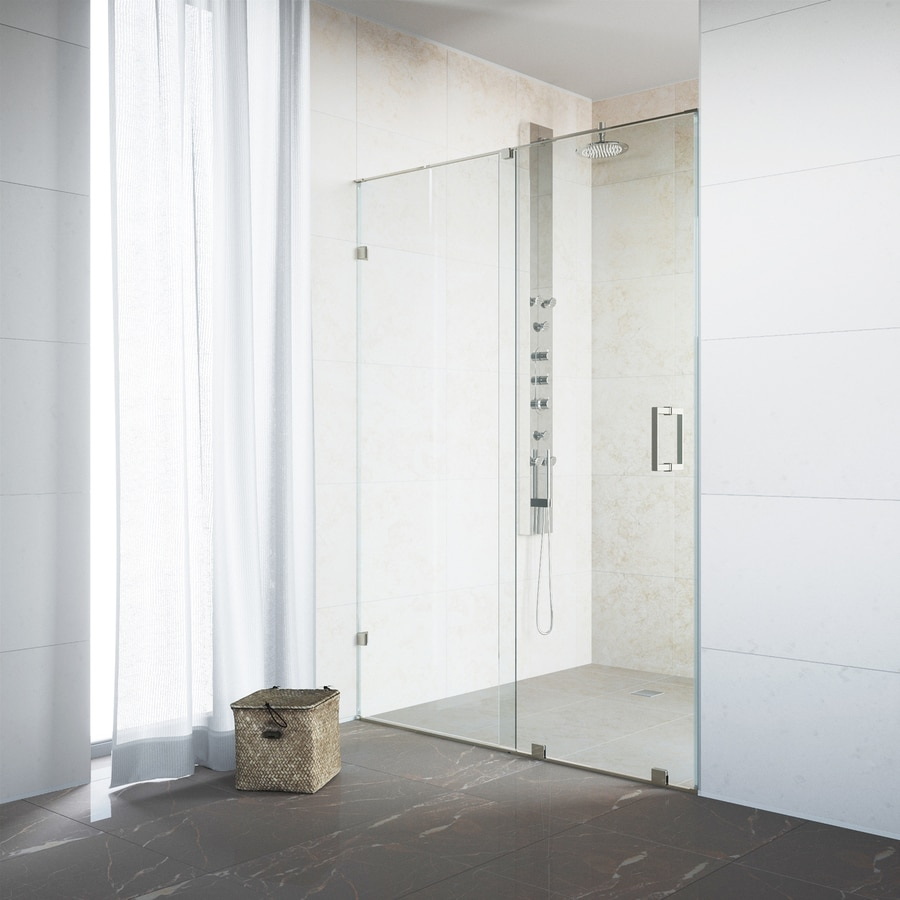 VIGO Ryland 58-in to 60-in Frameless Stainless Steel Sliding Shower Door