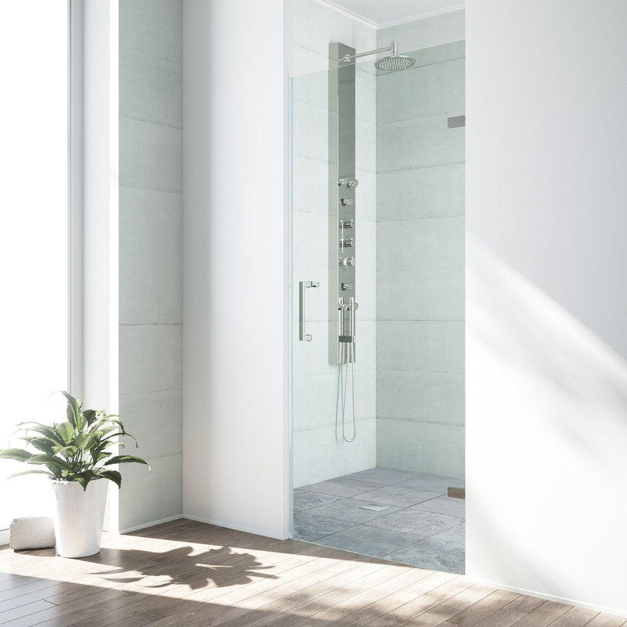 VIGO Soho 26-in to 26.5-in Frameless Brushed Nickel Hinged Shower Door