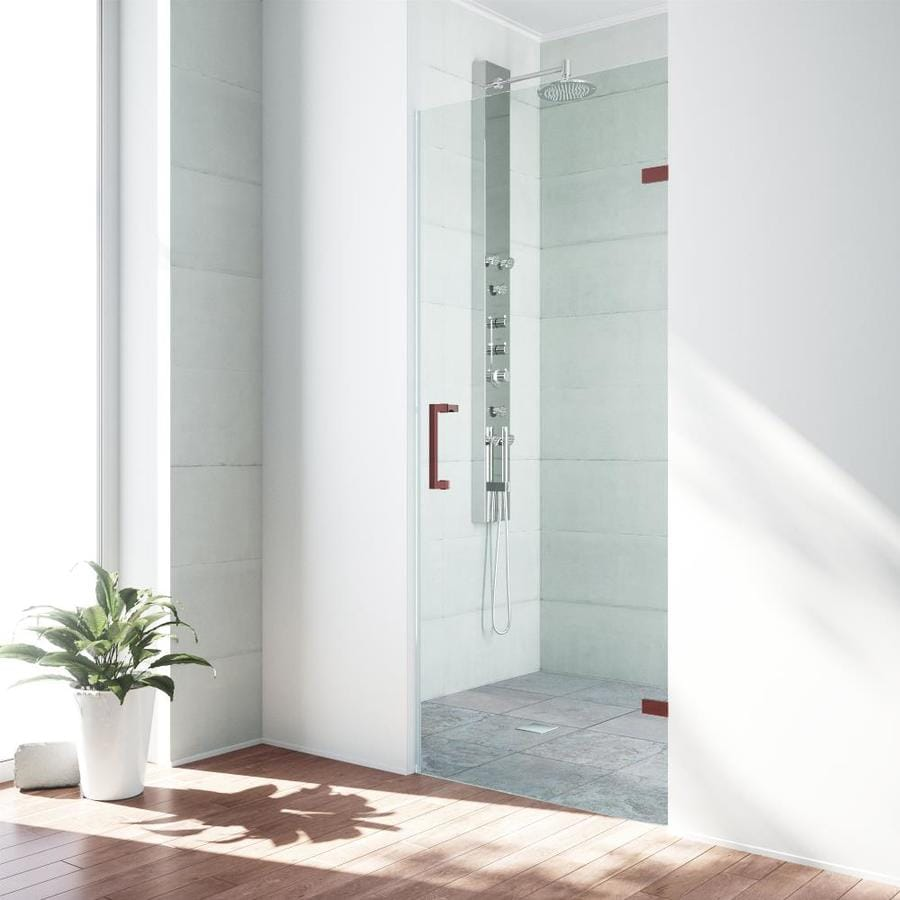 VIGO Soho 26-in to 26.5-in Oil-Rubbed Bronze Frameless Hinged Shower Door