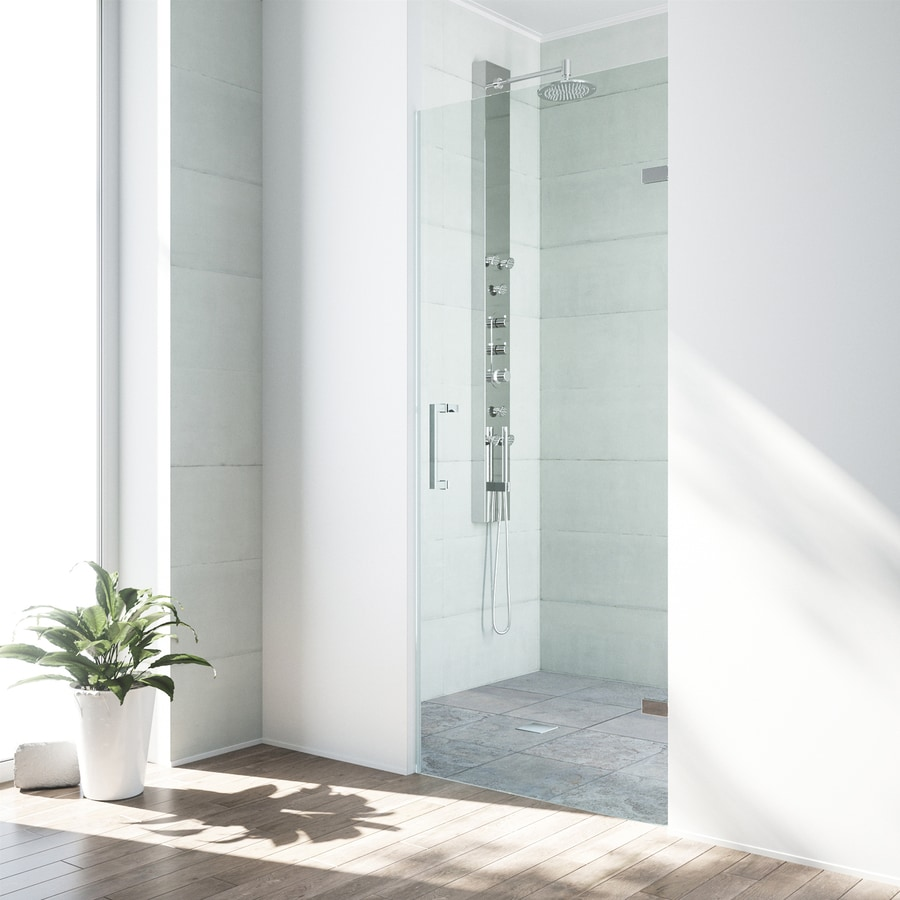 VIGO SoHo 28-in to 28.5-in W Frameless Chrome Hinged Shower Door