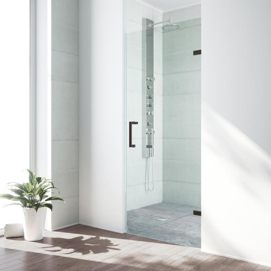 VIGO SoHo 28-in to 28.5-in Frameless Antique Rubbed Bronze Hinged Shower Door