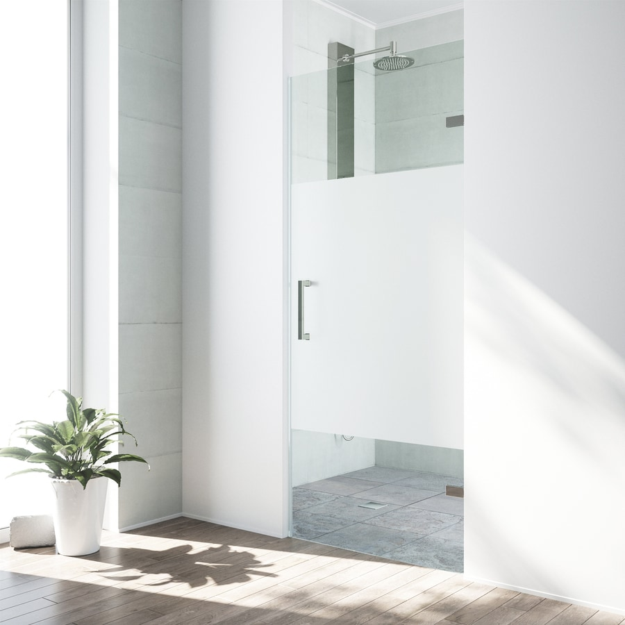 VIGO SoHo 28-in to 28.5-in W Frameless Stainless Steel Hinged Shower Door