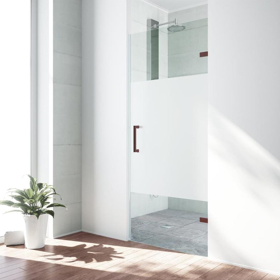 VIGO Soho 28-in to 28.5-in Oil-Rubbed Bronze Frameless Hinged Shower Door