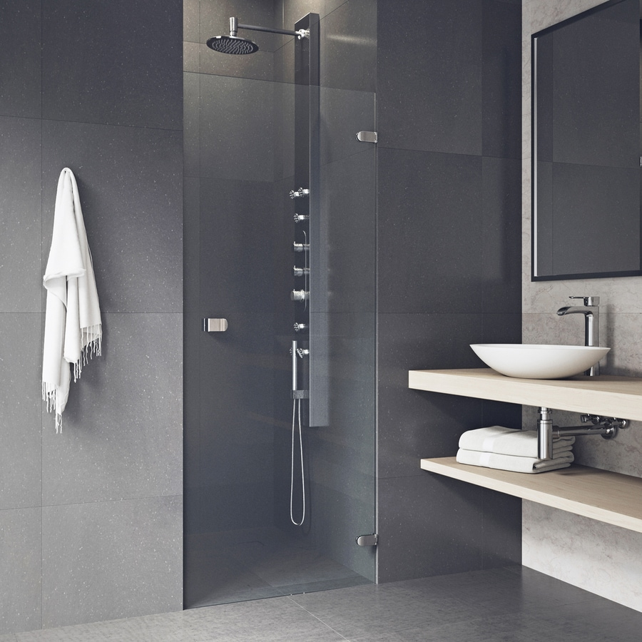 VIGO Tempo 24-in to 24.5-in W Frameless Stainless Steel Hinged Shower Door