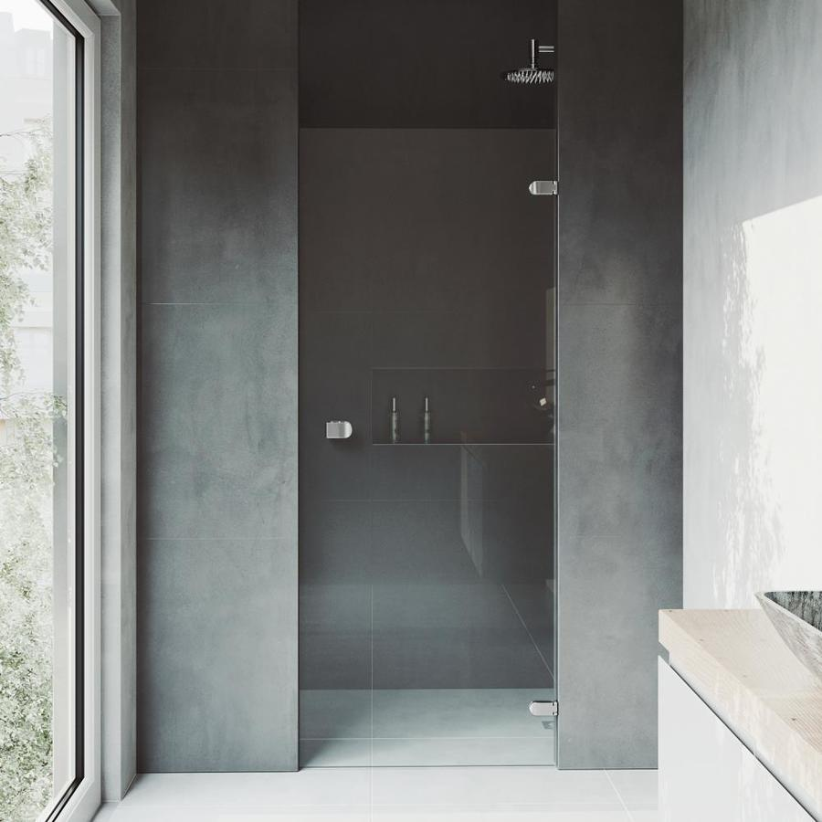 VIGO Tempo 26-in to 26.5-in Frameless Polished Chrome Hinged Shower Door