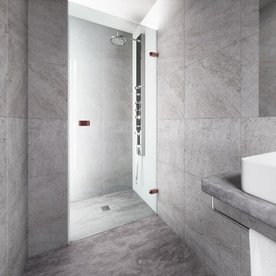 VIGO Tempo 26-in to 26.5-in Oil-Rubbed Bronze Frameless Hinged Shower Door