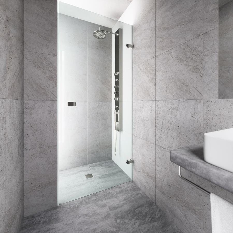 VIGO Tempo 28-in to 28.5-in Frameless Brushed Nickel Hinged Shower Door