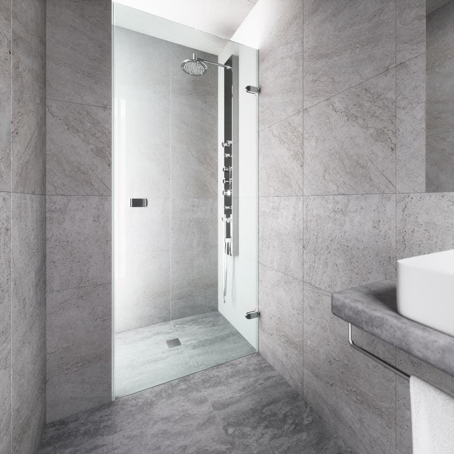 VIGO Tempo 28-in to 28.5-in Polished Chrome Frameless Hinged Shower Door