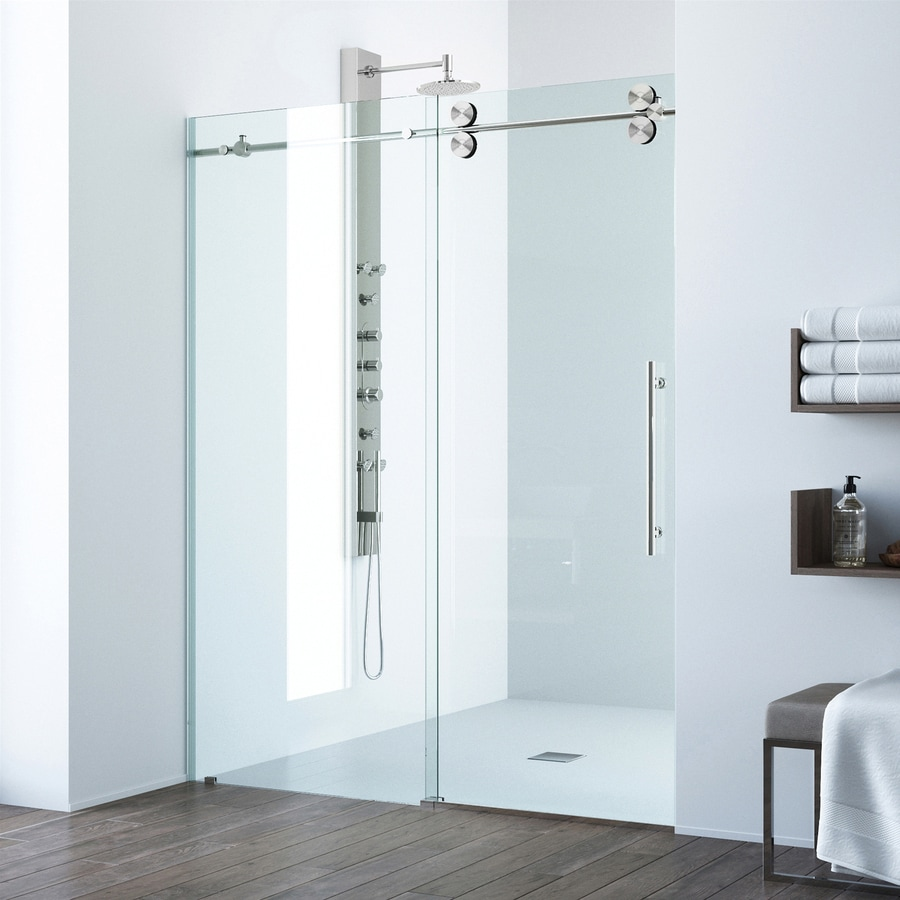 Bathroom shower doors frameless - Vigo 48 In To 52 In Frameless Stainless Steel Sliding Shower Door