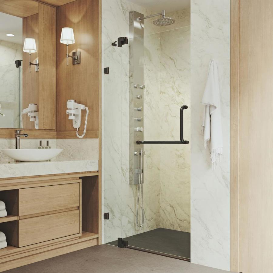 VIGO Pirouette 30-in to 36-in Frameless Hinged Shower Door