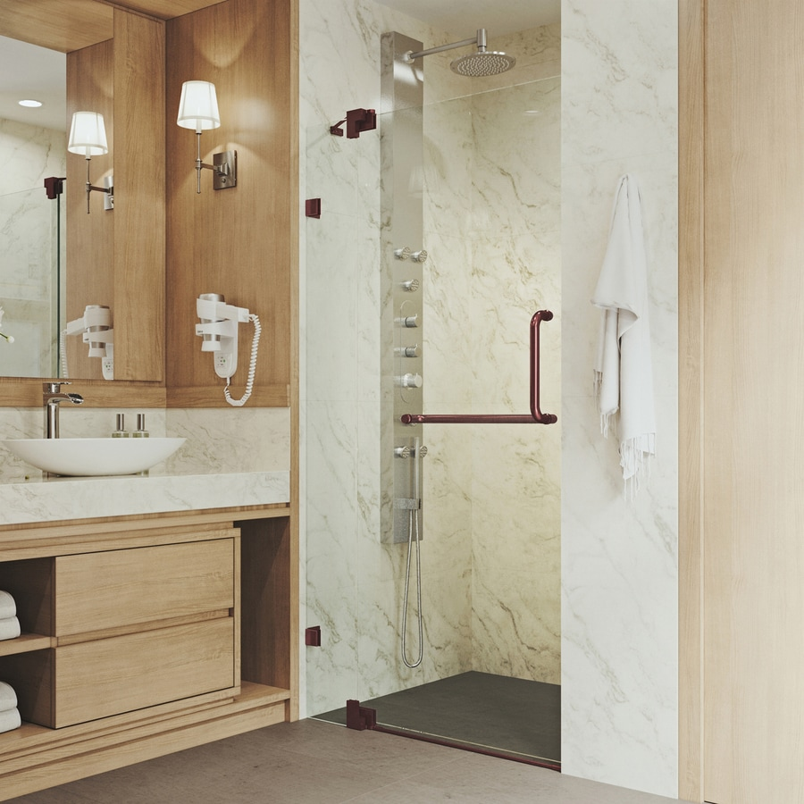 VIGO Pirouette 36-in to 42-in Frameless Hinged Shower Door
