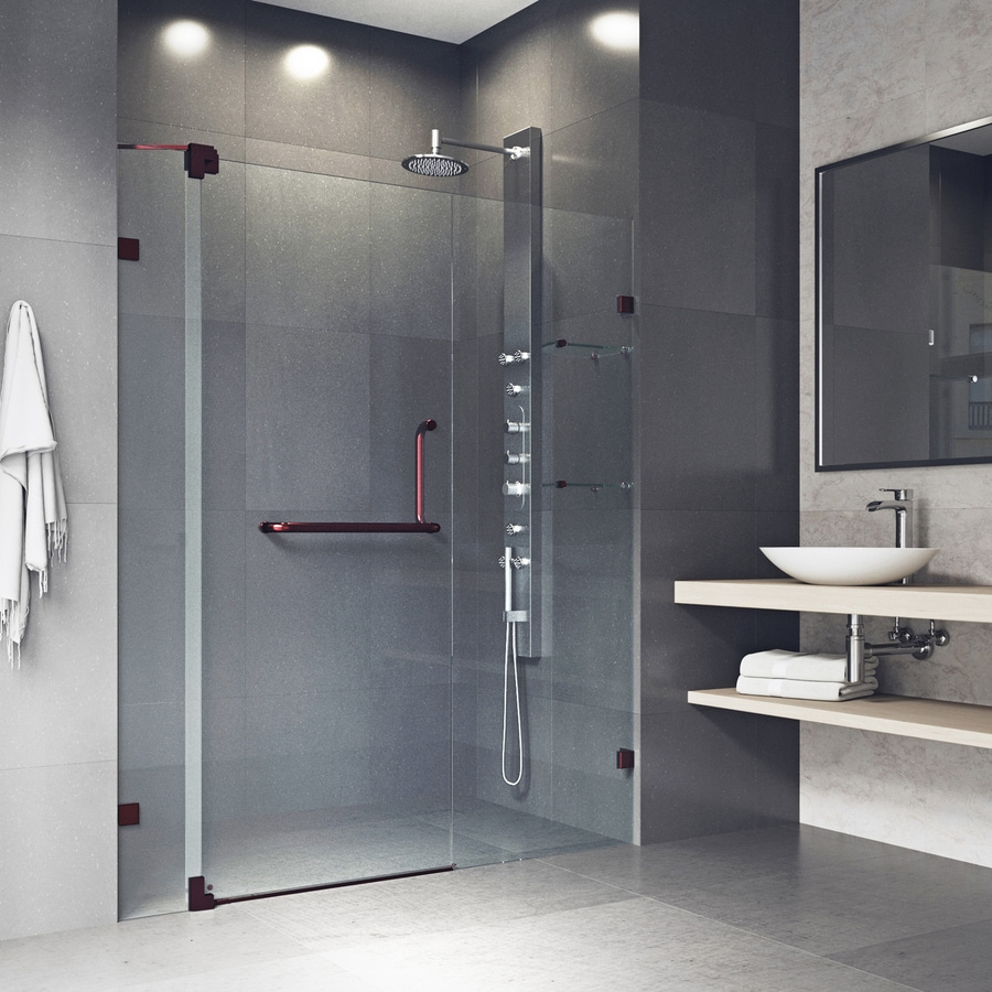 VIGO Pirouette 42-in to 48-in Frameless Oil Rubbed Bronze Hinged Shower Door