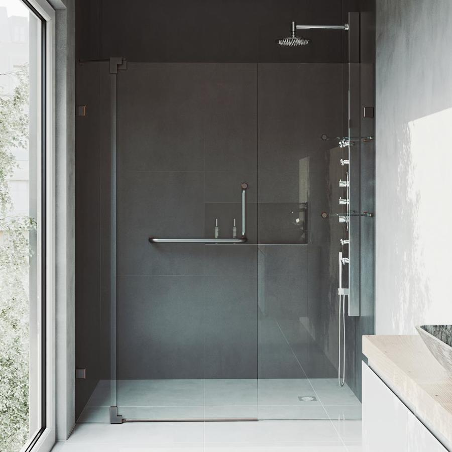 VIGO Pirouette 54-in to 60-in Frameless Hinged Shower Door