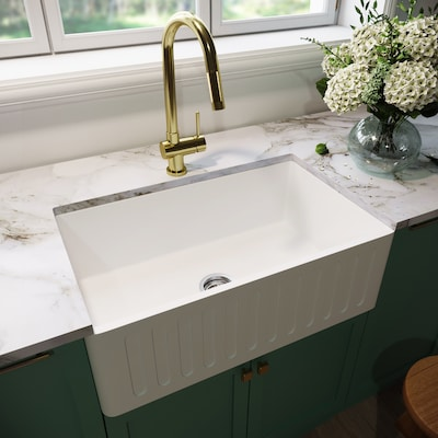 Vigo Matte Stone 30 In X 18 In Matte White Single Bowl Tall 8 In Or Larger Undermount Apron Front Farmhouse Commercial Residential Kitchen Sink At Lowes Com
