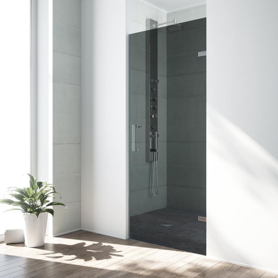 VIGO SoHo 28-in to 28.5-in W Frameless Chrome Hinged Shower Door
