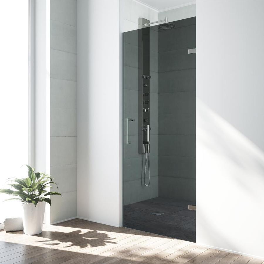 VIGO Soho 28-in to 28.5-in Brushed Nickel Frameless Hinged Shower Door