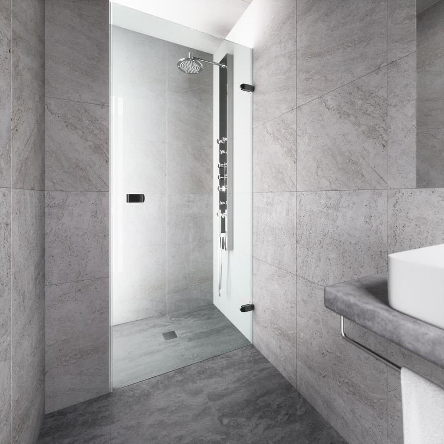 VIGO Tempo 30-in to 30.5-in W Frameless Matte Black Hinged Shower Door