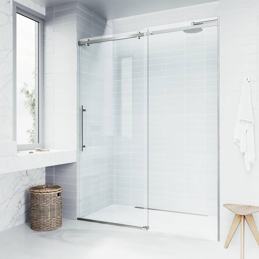 VIGO Luca 56-in to 60-in W Frameless Stainless Steel Sliding Shower Door