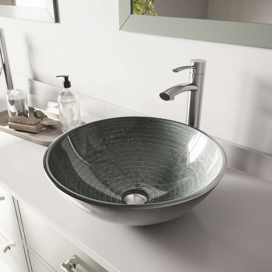 Vigo Vessel Sink Pvd Brushed Nickel Glass Vessel Round Bathroom Sink With Faucet Drain Included 16 5 In X 16 5 In In The Bathroom Sinks Department At Lowes Com