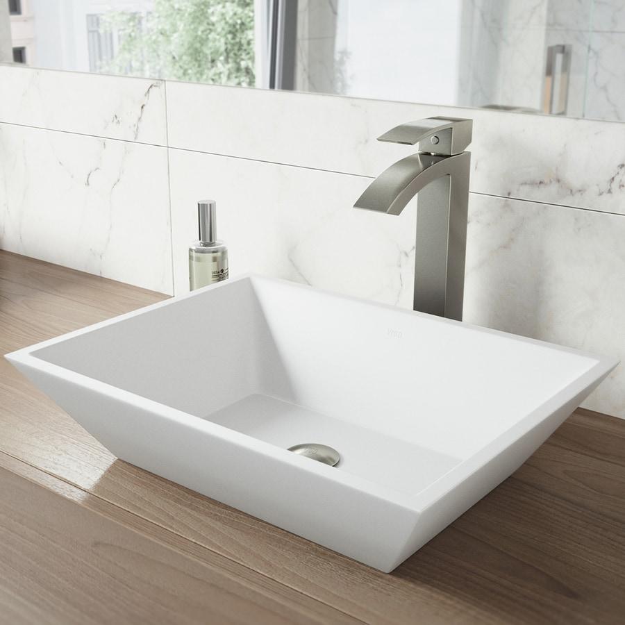 Vigo matte stone vessel sinks matte white acrylic vessel - White bathroom vanity with vessel sink ...