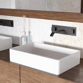 vigo matte stone vessel sinks matte white acrylic vessel rectangular bathroom sink - Bathroom Vessel Sinks