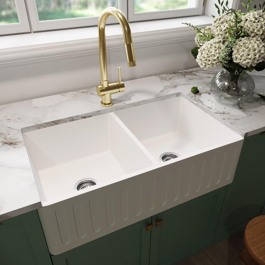 VIGO Matte Stone 36-in x 18-in Matte Double-Basin Composite Apron Front/Farmhouse Residential Kitchen Sink