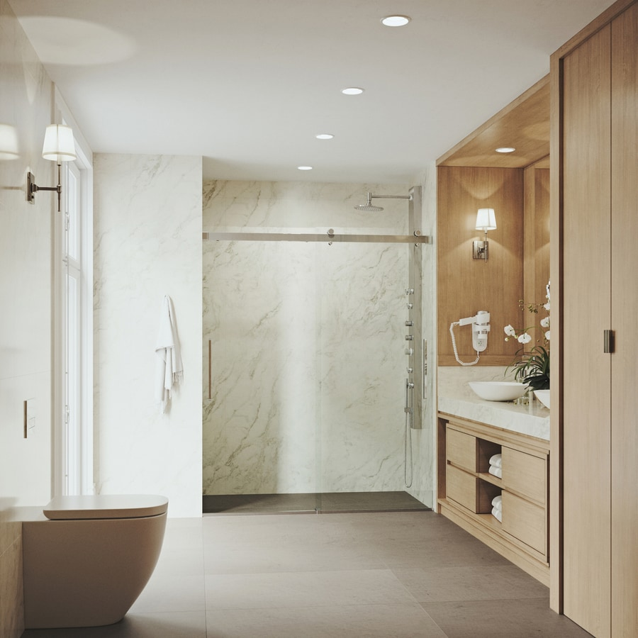 Shop Vigo Caspian 59 In To 61 In W Chrome Sliding Shower Door At