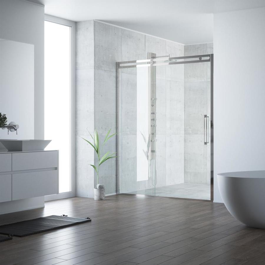 VIGO Erie 59.5-in to 60.5-in Framed Stainless Steel Sliding Shower Door